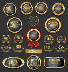 golden badges and labels collection 11 vector image