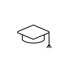 Graduation hat cap line art icon black on white vector