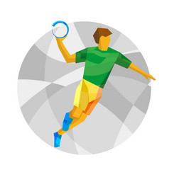 handball player with abstract patterns vector image