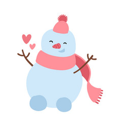 happy snowman in knitted hat scattering hearts vector image