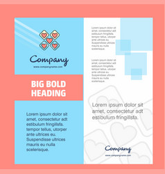 hearts blocks company brochure title page design vector image