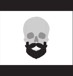 Hipster skull a man with beard mustache barbe vector