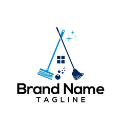 house cleaner logo template vector image