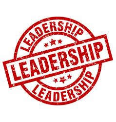 leadership round red grunge stamp vector image