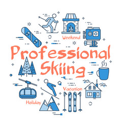 linear blue concept of professional skiing vector image