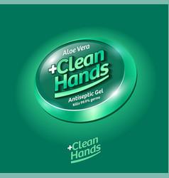 Logo clean hands spray sanitizer hands label aloe vector