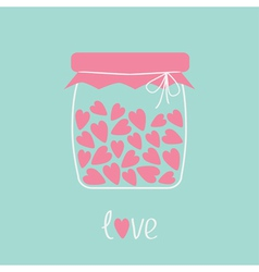 Love bottle jar with pink hearts inside Card vector image vector image