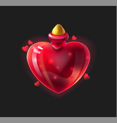 Love potion cartoon glossy bottle with magical vector