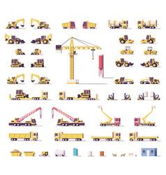 Low poly construction machinery vector