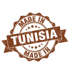 made in tunisia round seal vector image vector image
