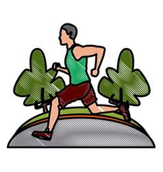 man running at park vector image