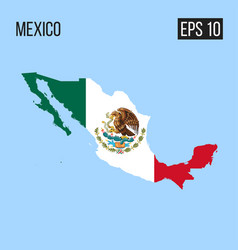 Mexico map border with flag eps10 vector