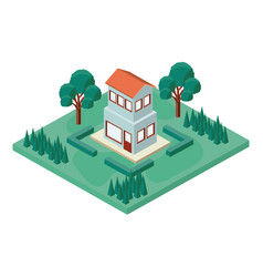 mini tree and house isometric vector image