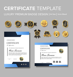 Modern blue corporate certificate with badge vector