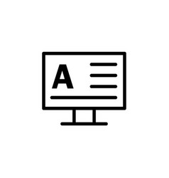monitor word a icon can be used for web logo vector image
