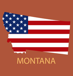 Montana state of america with map flag print vector