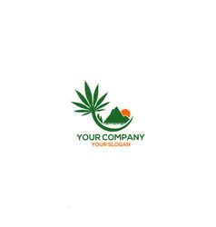 mountain hemp farm logo design vector image