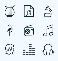 Multimedia outlines set collection melody vector