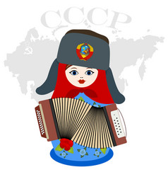 nesting doll with an accordion vector image