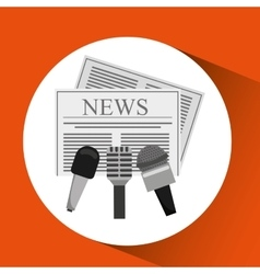 News hands reporter microphone and tape recorder vector