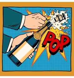 Opening champagne bottle pop art retro style vector
