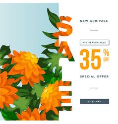 Orange flower petal and green leaves 35 med vector