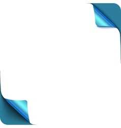 Page blue curl corners with shadow on blank white vector image