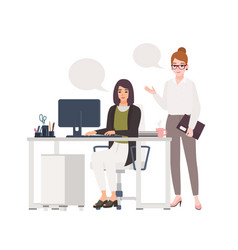 pair women working at office together female vector image