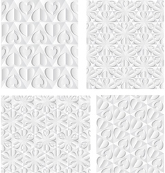 Paper Hearts Seamless patterns vector image