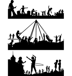 Playground foreground silhouettes vector image