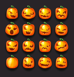 pumpkin emoji halloween jack o lantern scary faces vector image