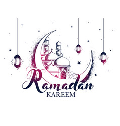 Ramadan kareem font with sketching crescent moon vector