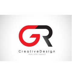 Red and black gr g r letter logo design creative vector