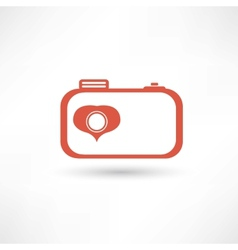Red nice camera icon vector image vector image