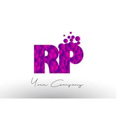 Rp r p dots letter logo with purple bubbles vector