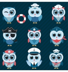 Sailor owls and owlets vector