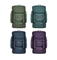 Set big travel backpacks vector