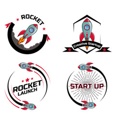 set logo space rocket ship vector image