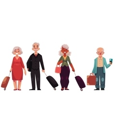 Set of old grey haired senior travelers with vector image