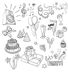 set sketch party objects hand-drawn vector image
