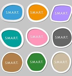 Smart sign icon Press button Multicolored paper vector