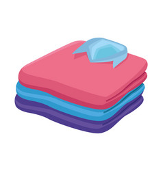 Stacked folded clothes icon cartoon vector