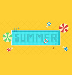 Summer time background pool with blue water and vector
