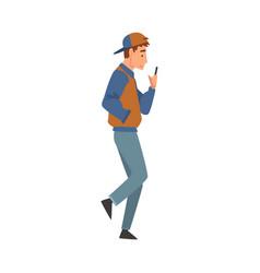 teen boy walking outside guy looking at his vector image