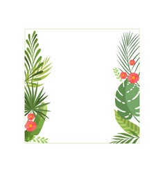 Tropical leaves and flowers elegant frame with vector