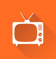 tv icon in flat style isolated on orange vector image