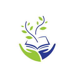 two hands hold a book and green sprout vector image