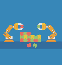 Two robotic arms building a colorful puzzle vector