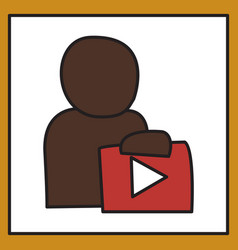 unusual look play logo icon buttonyoutube flat vector image