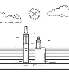 vape smoking device set with e vector image